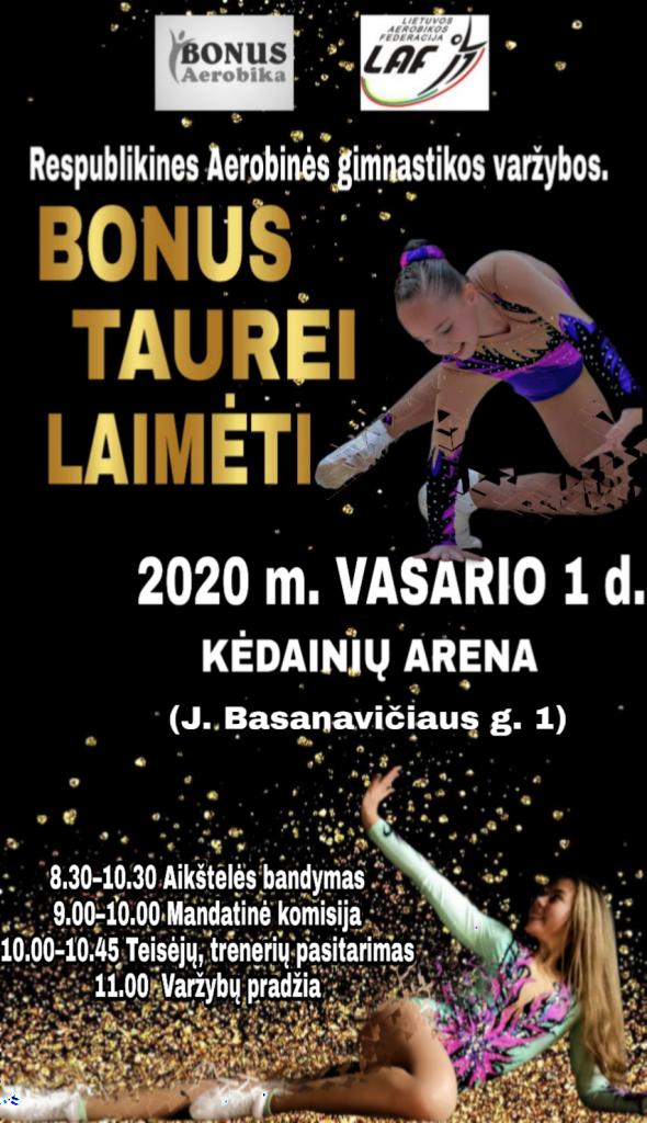 """Respublikinės Aerobinės gimnastikos varžybos """"Bonus"""" taurei laimėti"""